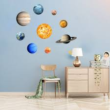 9 Pcs Solar System Mural Glowing Planets Wall Decals Stickers For Kids Bedroom Living Room Decor Walmart Com Walmart Com