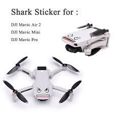 2sets Shark Pvc 3m Glue Camera Drone Decals Skin Sticker For Dji Mavic Air 2 Mavic Mini Drone Battery Stickers For Stickers Stickersstickers 3m Aliexpress