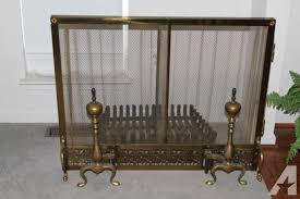 vintage antique brass fireplace screen