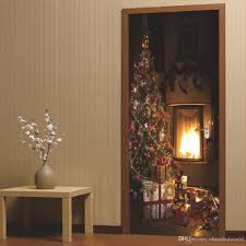 Dsu Christmas Fireplace Wall Sticker Mural Bedroom Door Poster Home Decor Circle Wall Decals Circle Wall Stickers From Chinaledworld 7 86 Dhgate Com