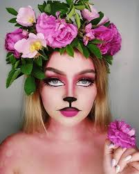 pink cute kitty makeup with fl