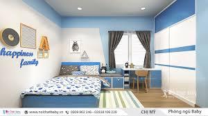Phòng ngủ bé trai hiện đại với thiết kế gam màu xanh dương và màu trắng làm  chủ đạo, màu sắc vừa mạnh mẽ, vừa đẹp mắt, tạo…