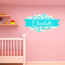 Vwaq Custom Flower Name Wall Decal Customized Name Decals For Girls