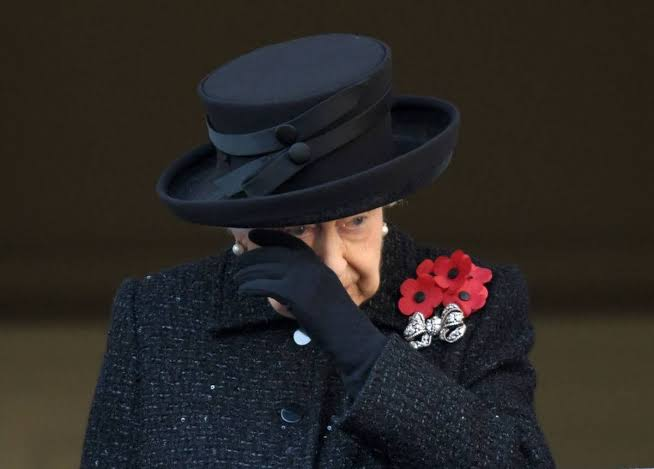 Image result for queen cries at remembrance day 2019""