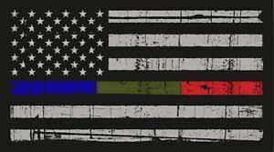 Thin Blue Red Green Line American Flag Distressed Vinyl Decal Car Window Sticker Ebay