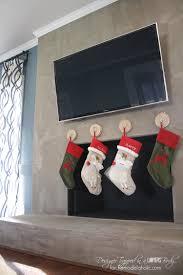 stockings on brick fireplace