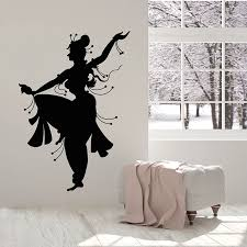 India Style Wall Decal Indian Woman Dancer Belly Dance Girl Room Interior Decor Window Vinyl Stickers Silhouette Wallpaper E465 Wall Stickers Aliexpress