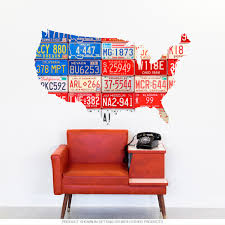 Usa Flag Cutout License Plate Style Wall Decal At Retro Planet