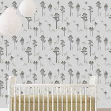 Deer Forest Wallpaper Stencil For Diy Home Decor Beautiful Wall Design For Woodland Nursery Kids Room