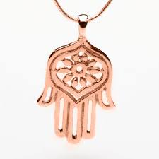 large 14k rose gold hamsa pendant