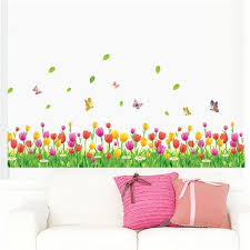 Sale Country Style Tulip Flower Butterfly Baseboard Wall Stickers Diy Wall Decal Home Decor Wall Stickers Home Decor Wall Stickers Home Wall Stickers Bedroom