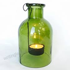 the rustic pale glass tea light holder