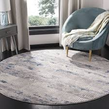 """Williston Forge Wendi Gray/Navy Area Rug Rug Size: Round 6'7"""" in 2020 