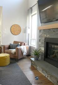 living room stone fireplace shiplap