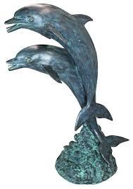 dolphins in tandem bronze garden statue