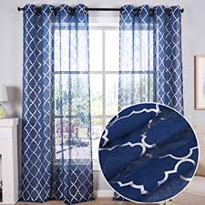 Amazon Com Kotile Kids Room Navy Blue Sheer Curtains Grommet Top Window Treatment With Silver Moroccan Tile Print Short Curtains For Bedroom 52 X 63 Inch Set Of 2 Panels Furniture Decor
