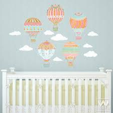 Hot Air Balloons Sky Clouds Wall Print Fabric Wall Decal Nursery Decor Wallternatives