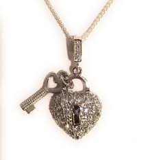 pave heart padlock of sterling silver