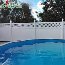 China Grey White 6 H 8 W Plastic Pvc Garden Privacy Fence With Top Lattice China Vinyl Fence Pool Fence