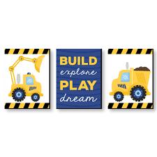 Construction Truck Baby Boy Nursery Wall Art Kids Room Decor 7 5 X 10 Set Of 3 Prints Walmart Com Walmart Com