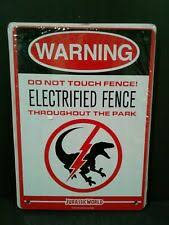 Jurassic World Electrified Raptor Fence Tin Litho Warning Sign Lootcrate March 2 For Sale Online Ebay