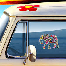 Elephant Car Decal Colorful Design Bumper From Meganjdesigns