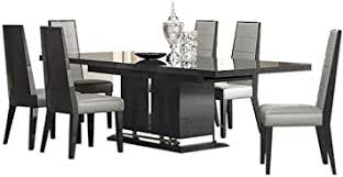 Amazon Com Valentina Modern Dining Room Set In Grey Lacquer High Gloss Veneer Table Chair Sets