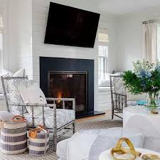 tilted television over fireplace design