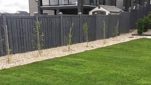 Black Oak Vinyl Wood Fencing Wooden Fence Fence Design Wood Fence