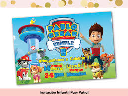 Invitacion Fiesta Infantil Paw Patrol Nino The Dragonfly Ideas Shop