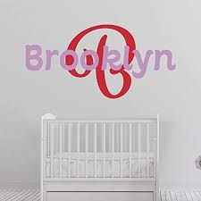 Amazon Com Girl S Custom Name And Initial Wall Decal Choose Your Own Name Initial And Letter Styles Multiple Sizes Girl S Name Wall Decal Bedroom Decoration Wall Sticker Decor Baby Wall Stickers For Girls