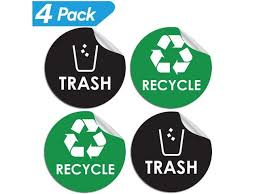 Recycle Sticker Trash Bin Label 4 X 4 Organize Coordinate Garbage Waste From Recycling Great For Metal Aluminum Steel Or Plastic Trash Cans Indoor Outdoor