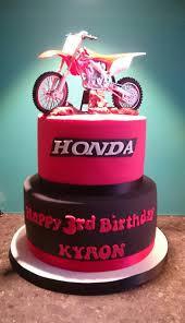 Tiered Black And Red Honda Motorbike Cake Tortas De Cumple