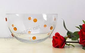 gac large glass serving bowl round