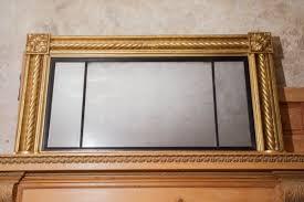 gilt triptych overmantle mirror