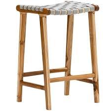 cassie leather teak counter stool