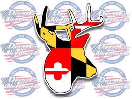 Maryland Md State Flag Buck Deer Whitetail Vinyl Car Window Sticker Decal