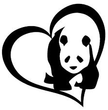Panda Bear Heart Vinyl Decal Sticker Car Window Wall Bumper I Love Cute Animal Wish