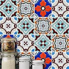 Amazon Com Amazingwall Turkish Style Tiles Floral Print Wall Sticker Diy Peel And Stick Home Decoration Square Decal 5 91x5 91 10 Pcs Home Kitchen