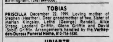 Priscilla Griffin Tobias obituary - Newspapers.com