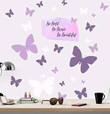 Create A Mural Be Bold Brave Beautiful Butterfly Girls Wall Decals Art Stickers For Bedroom Peel And Stick Kids Room Decor Nursery Toddler Teen Decorations Playroom Birthday Gift Educational Toys Planet