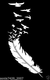 Feather With Birds White Vinyl Decal Cute Funny Car Truck Window Funny Car Decals Vinyl Decals Silhouette Stencil