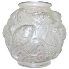 barolac molded art glass vase with fish