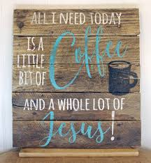 wooden coffee and jesus sign rustic coffee bar decor mrs
