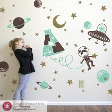 Space Walk Girl Wall Decal Personalized Outer Space Astronaut Nursery Graphic Spaces