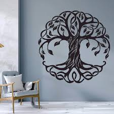 Mandala Circle Trees Vinyl Wall Decals Home Decor Fitness Yoga Tree Wall Sticker Tree Of Life Yoga Studio Wall Murals Az044 Wall Stickers Aliexpress