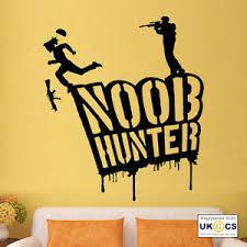 Noob Hunter Cool Gun Boys Kids Bedroom Game Wall Art Stickers Decal Vinyl Room Ebay