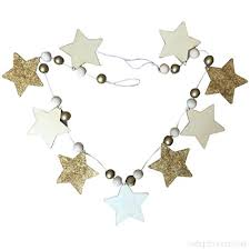 Beiguoxia Nordic Cute Stars Beads Diy Wood Banner Home Kids Room Party Wall Hanging Decor B07b48752r