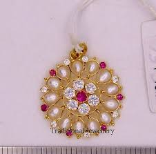 22k gold designer jadau pearl pendant