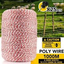 1000m Electric Fence Polywire Polyrope Wire Poly Rope With 25pcs Insulators Ebay